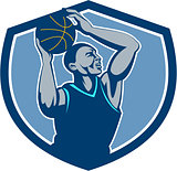 Basketball Player Rebounding Ball Crest Retro