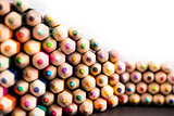 Close up shot of fading pencils pile
