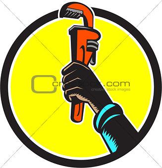 Black Plumber Hand Raising Monkey Wrench Circle