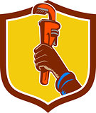 Black Plumber Hand Raising Monkey Wrench Crest