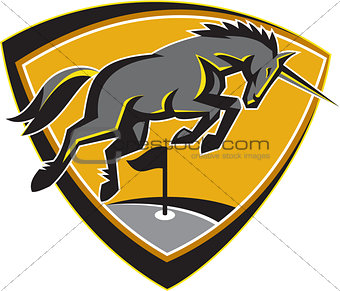 Black Unicorn Horse Charging Golf Course Retro