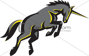Black Unicorn Horse Charging Isolated Retro