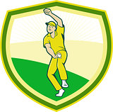 Cricket Player Bowling Crest Cartoon
