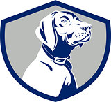 Dog Pointer Head Profile Side Crest Retro