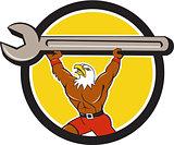 American Bald Eagle Mechanic Spanner Circle Cartoon