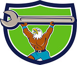 American Bald Eagle Mechanic Spanner Crest Cartoon