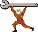 American Bald Eagle Mechanic Spanner Cartoon