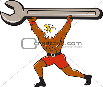American Bald Eagle Mechanic Spanner Cartoon