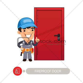 Fireproof Door and Worker
