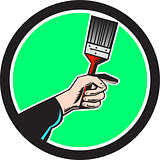 Painter Hand Holding Paintbrush Circle Retro