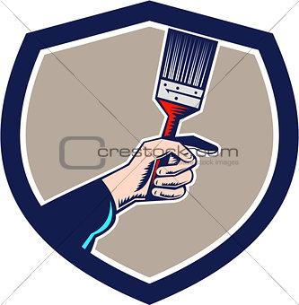 Painter Hand Holding Paintbrush Crest Retro