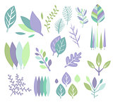 Modern Design Leaf Prints Set