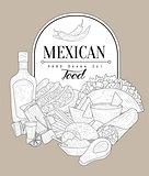 Mexican Food Vintage Sketch