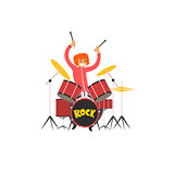 Girl Drummer Vector Illustration