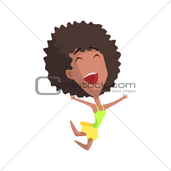 African Curly Female Character Rejoicing