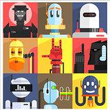 Set Of Different Cartoon Robots