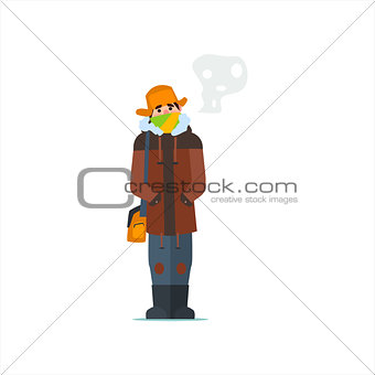 Man In Cap With Flaps
