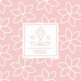 Abstract Figure Pink Yoga Studio Design Card