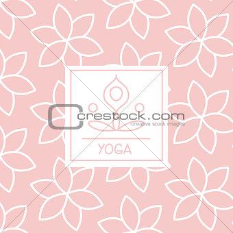 Abstract Figure Pink Yoga Studio Design Card