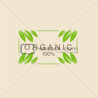Frame With Leavs in Corners Organic Product Logo