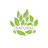 Random Placed Leaves Surrounding Text Organic Product Logo