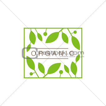 Frame With Leaves And Fruit Organic Product Logo