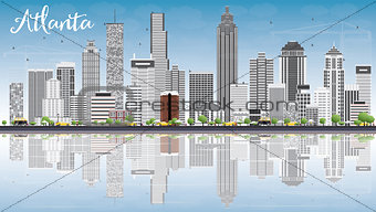 Atlanta Skyline with Gray Buildings, Blue Sky and Reflections.