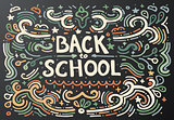 Back to school chalkboard sketch. Vector illustration.