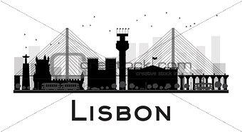 Lisbon City skyline black and white silhouette.