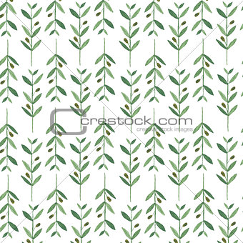 Watercolor pattern with olive branches.