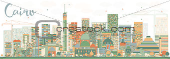 Abstract Cairo Skyline with Color Buildings.