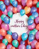 Happy Mothers Day Card with white circle and flying balloon.