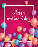 Happy Mothers Day Card with white frame and flying balloon.