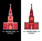 Spasskaya Tower isolated on white and black background.