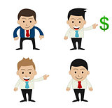 set of funny cartoon office businessman