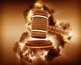 3D gavel image with storm effect