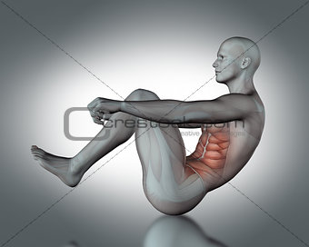3D medical figure in sit up position