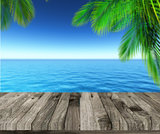 3D weathered wooden deck looking out to ocean