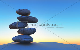 3D balancing pebbles on sand against a sunset sky