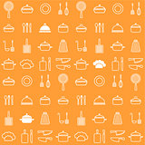 Seamless line kitchen icons orange background