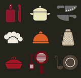 Colorful retro minimal kitchen cookware icon set