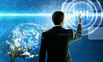 Business man pushing virtual team