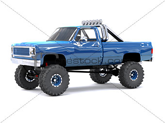 A large blue pickup truck off-road. Full off-road training. Highly raised suspension. Huge wheels with large spikes for rocks and mud. 3d illustration.