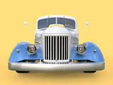 Old restored pickup. Pick-up in the style of hot rod. 3d illustration. White and blue car on a yellow background.