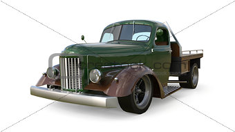 Old restored pickup. Pick-up in the style of hot rod. 3d illustration.