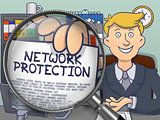 Network Protection through Magnifier. Doodle Style.