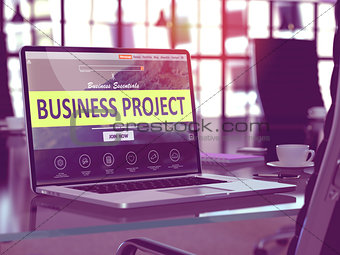 Business Project Concept on Laptop Screen.