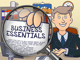 Business Essentials through Magnifying Glass. Doodle Style.