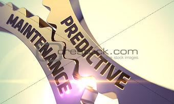 Predictive Maintenance Concept. Golden Cogwheels.