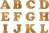 Wooden Alphabet, vector set with wood Letters, for Text Message, Title or Logos Design